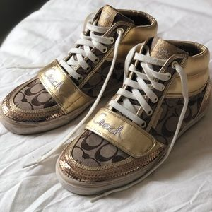 Gold Sequin Coach High-Top Sneakers